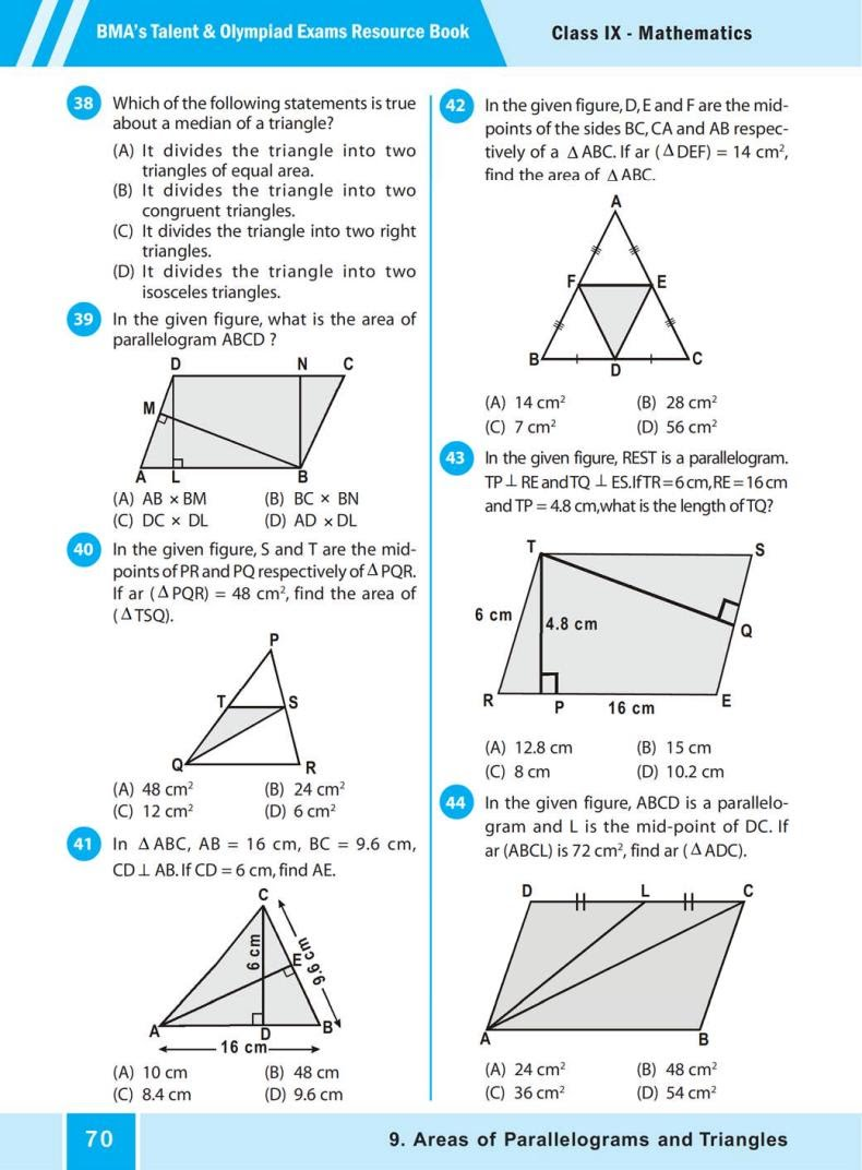QUIZ Areas of Parallelograms  and Triangles (BMA'S TALENT & OLYMPIAD EXAMS) 5