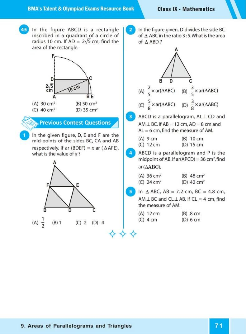 QUIZ Areas of Parallelograms  and Triangles (BMA'S TALENT & OLYMPIAD EXAMS) 6