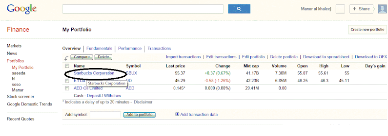 Google Finance - Saeeda Mubarak