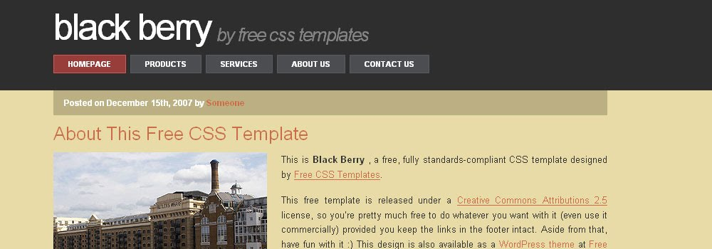 Free Blackberry Web Template
