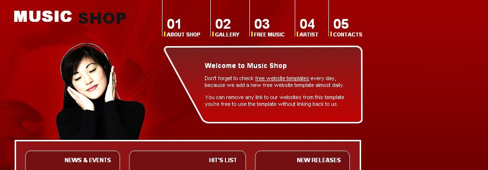 Free Music Shop Web Template