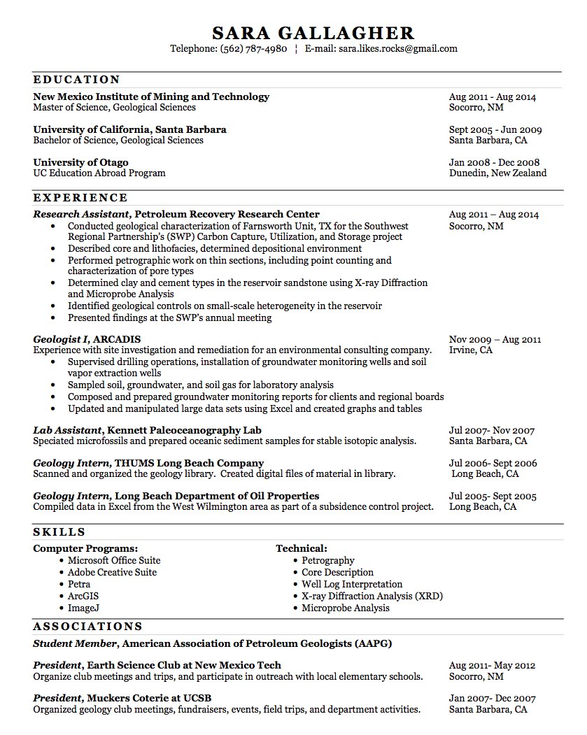 Resume - Sara Gallagher