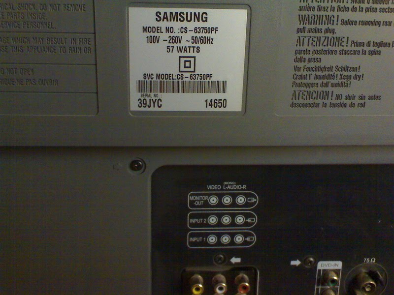 How To Reset Samsung CS-63750PF Without Service Menu ?