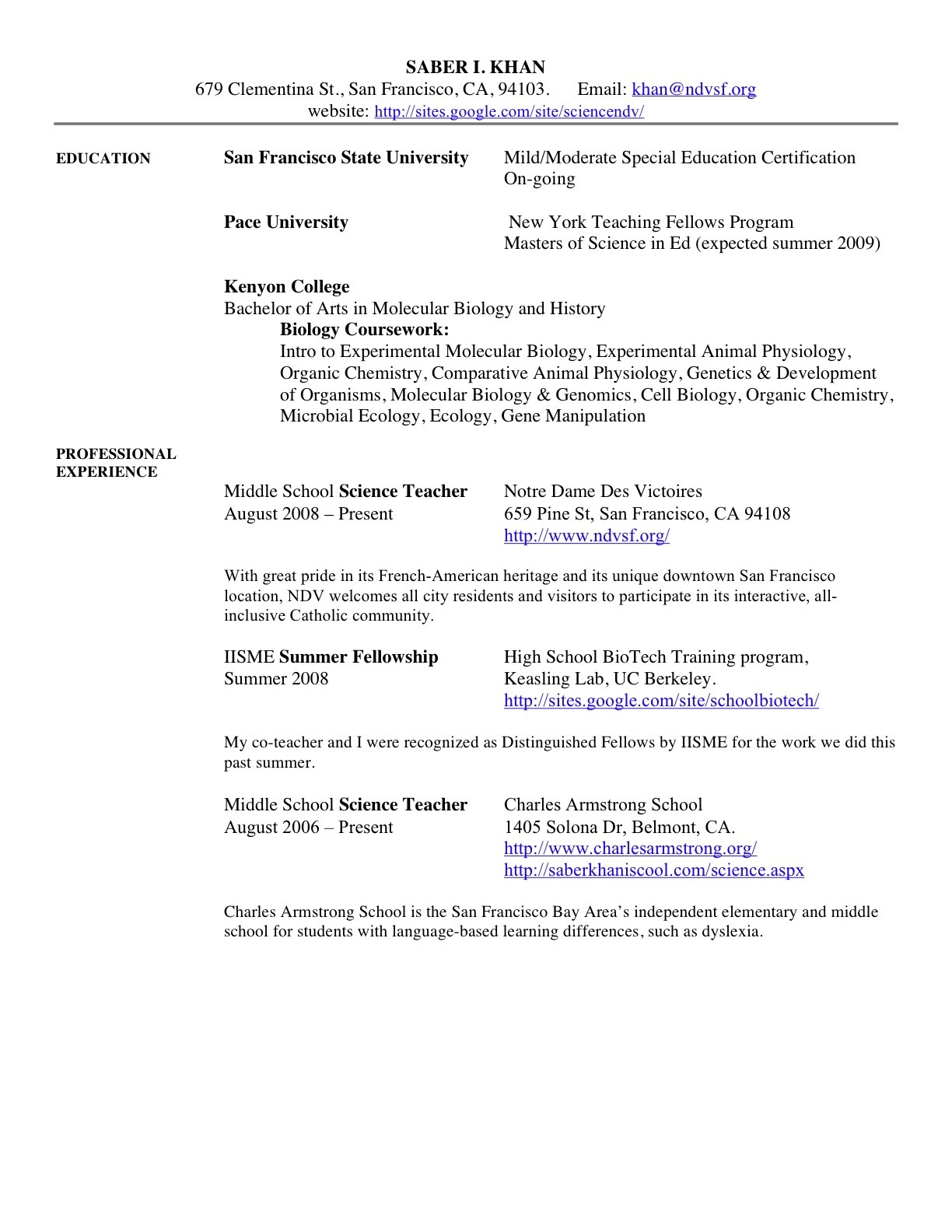 middle school science teacher resume