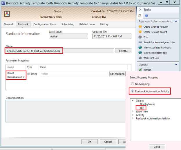 server runbook template - manually closing change request in service manager scom