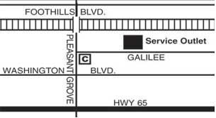 Map to Service Outlet, 7401 Galilee Rd., Roseville, CA