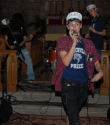Lead singer from original Battle of the Bands, down singing on the floor