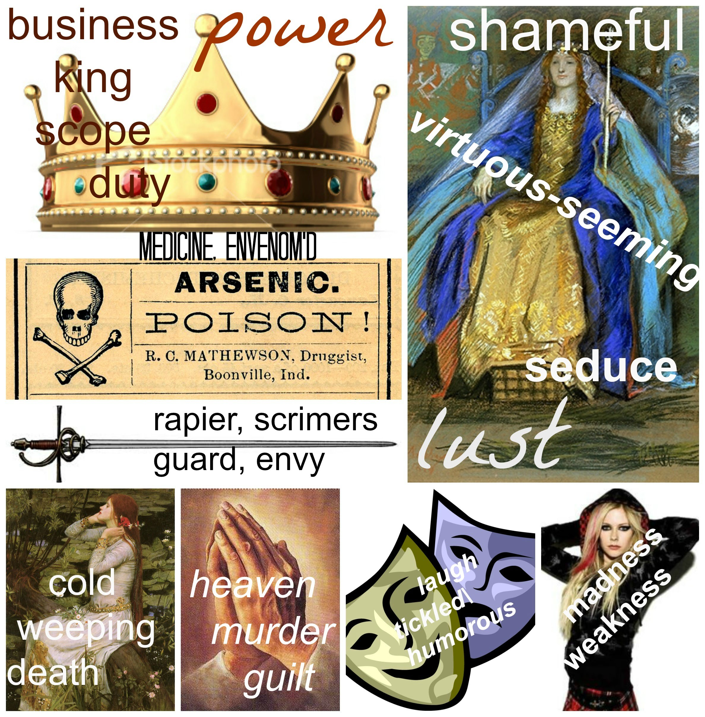 Diction shakespeares hamlet period 2 the collage displays the cycle of events occurring throughout the play by depicting symbols and motifs as well as some choice words from a relevant passage biocorpaavc