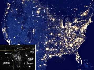 Fracking in North Dakota seen from space