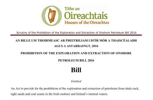 Prohibition of Fracking Bill Ireland