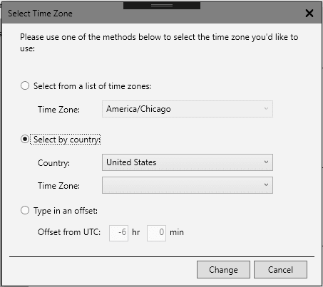 Select Time Zone window