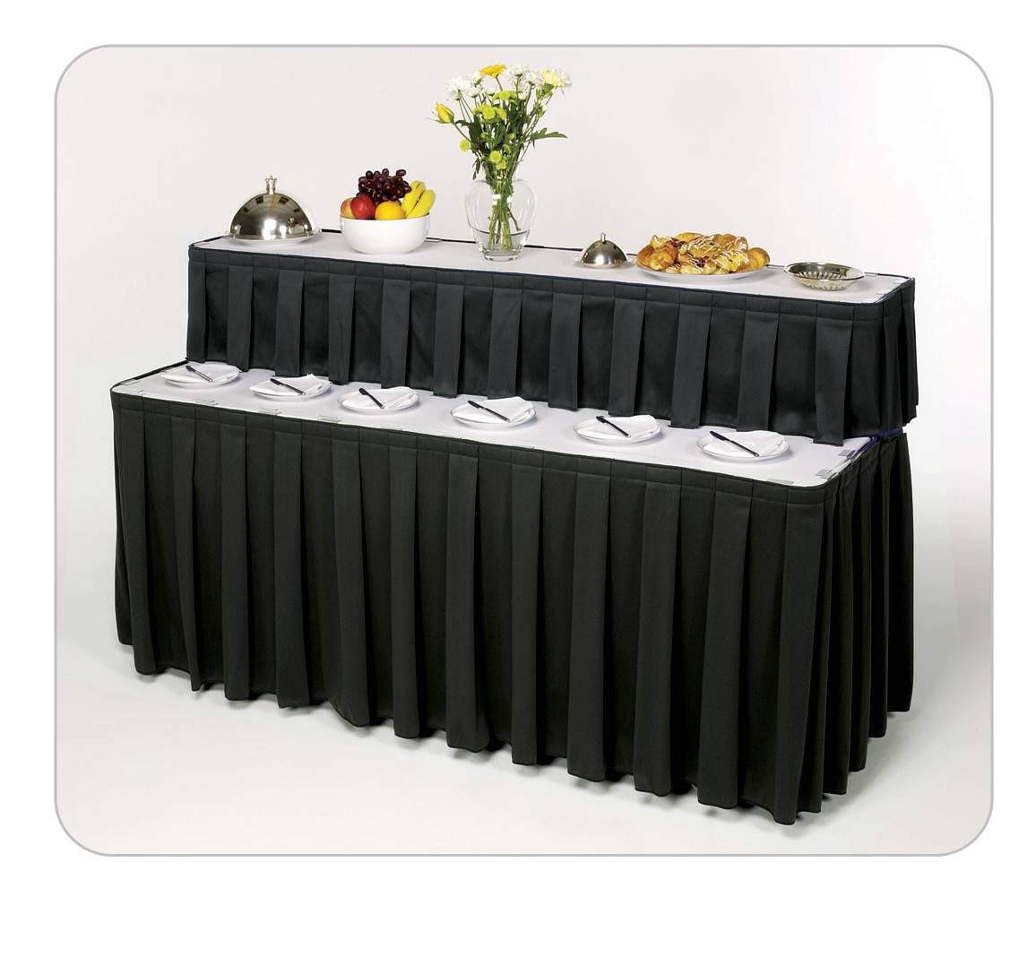 Buffet table skirting - Wyndham Black Boxed Pleat Table Skirting On A Sico Two Tier Catering Table
