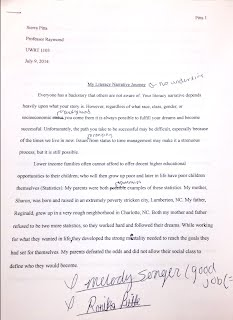 literacy narrative essay rough draft uwrt  literacy narrative essay rough draft