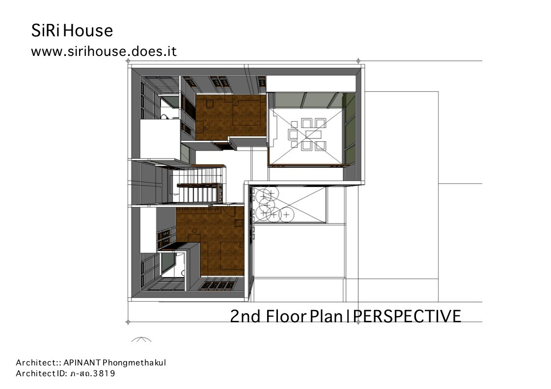 2nd Floor Plan, PERSPECTIVE - SiRi House