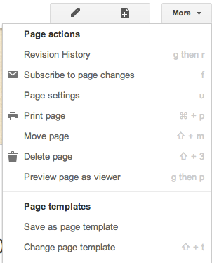 more action button page options