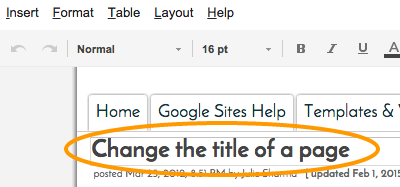Change The Title Of A Page Google Sites Help Designs