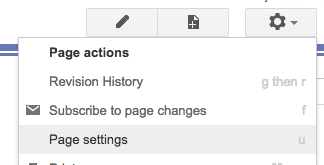 settings gear > page settings (keyboard shortcut u)