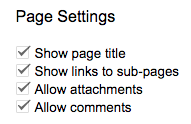 Page Settings with allow attachments checked