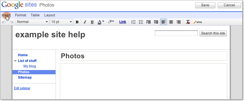 add a picasa photo album or photo template tips