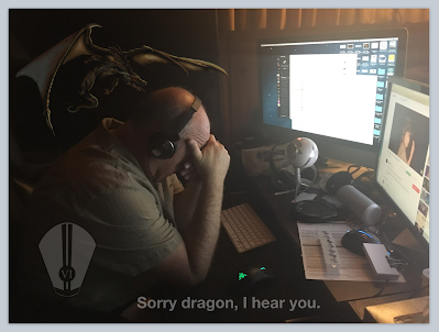 A dragon sneaks up on Charles in the darkness