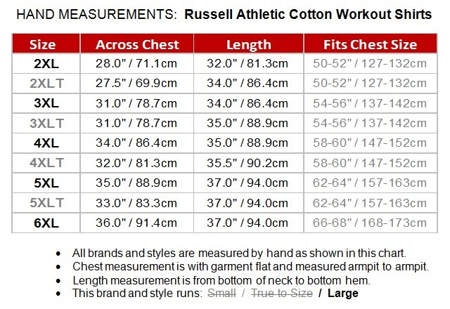 Russell Athletic Big And Tall Mens Cotton Work Out Shirt
