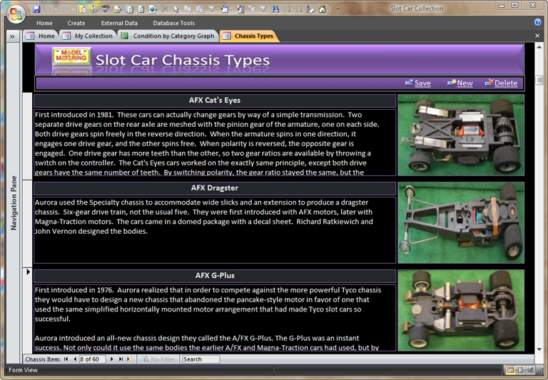 Slot Car Chassis Types - Slot Car Collection Software