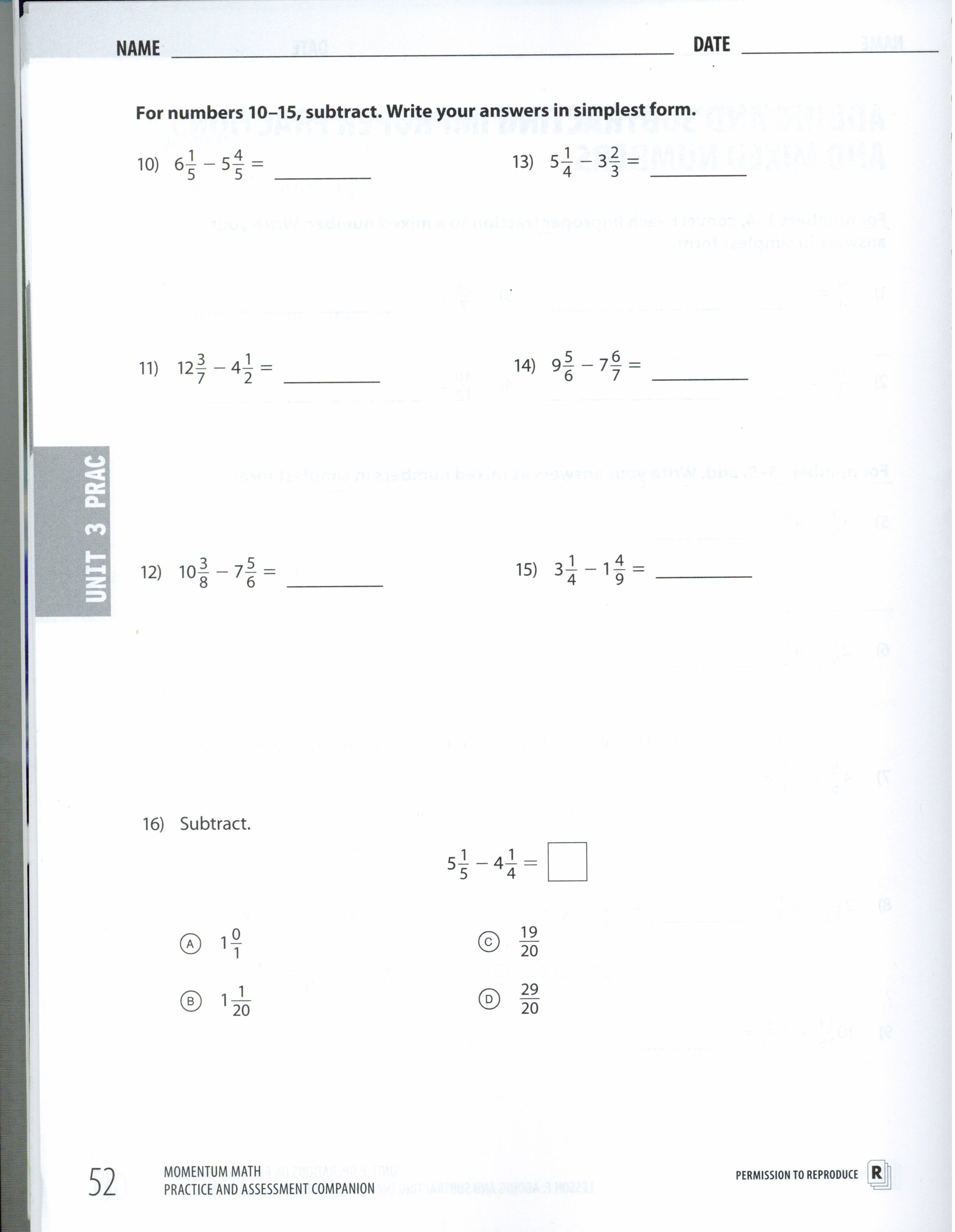Homework Assignments Sophia Burns Mathematics – Adding and Subtracting Improper Fractions Worksheet