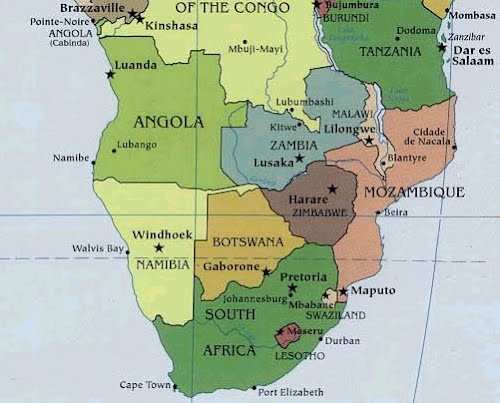 south africa map and capital cities