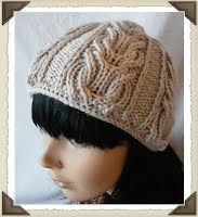 cabled hat with Icord beginning - Juliet cap style