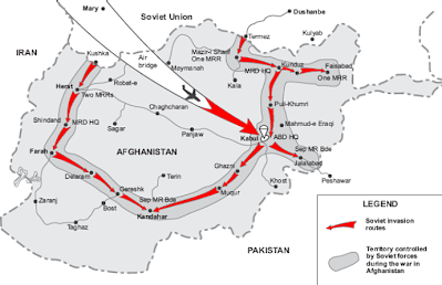 A map of the Soviet Invasion on Kabul, Afghanistan.