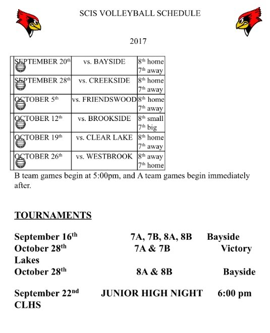 7th & 8th Volleyball Schedule