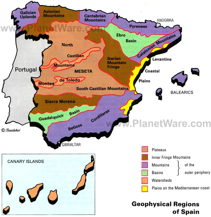 Map Of Spain Oceans.Regions Of Spain Spain Facts