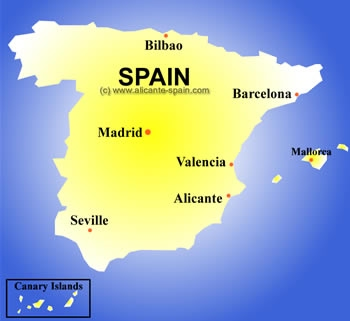 Map Of South West Spain.A Map Of Spain Spaintravel Com