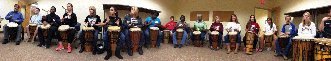 Spark Group playing drums
