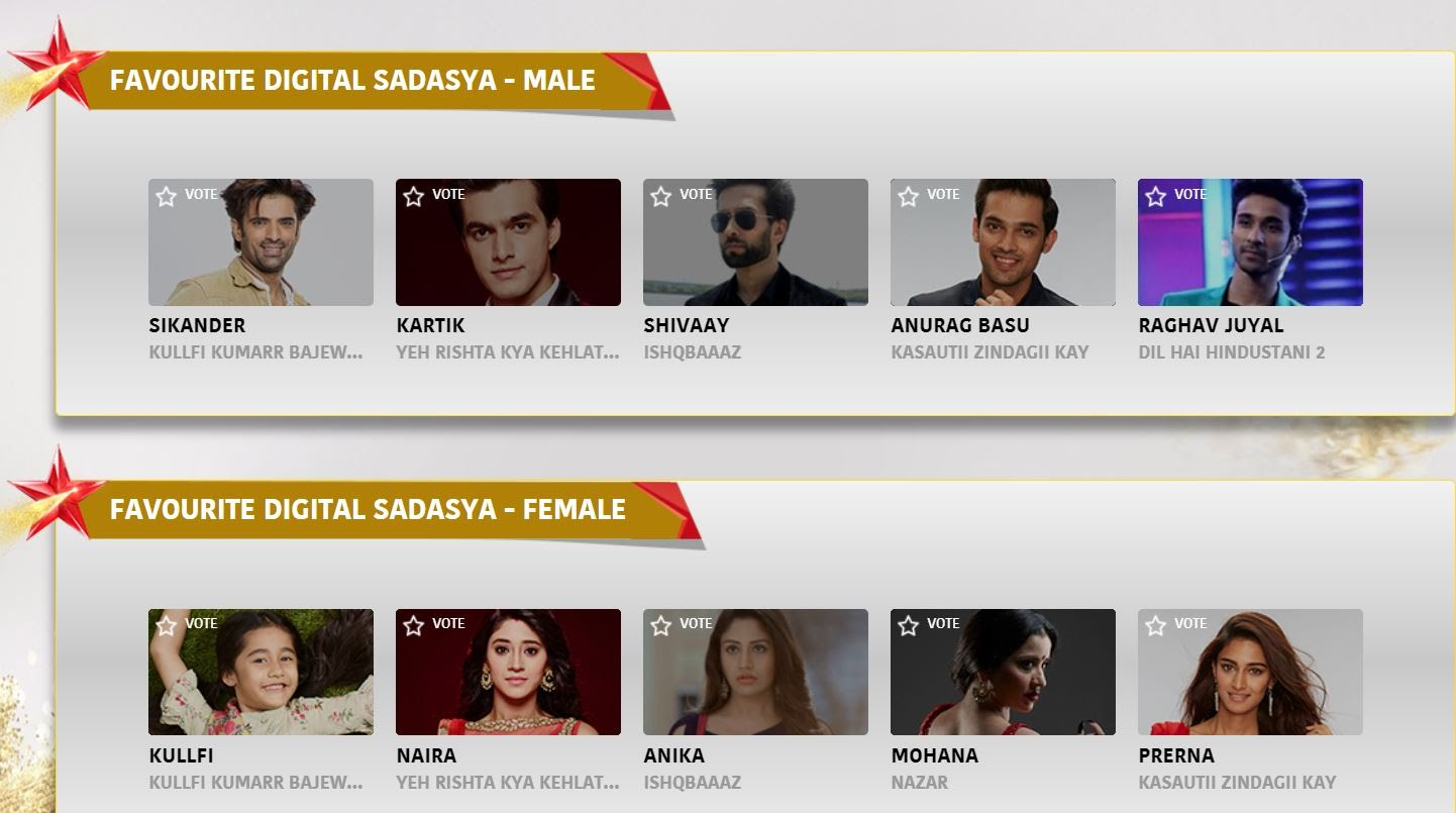 Star Parivar Awards 2018 VOTE | Voting for Nominations List
