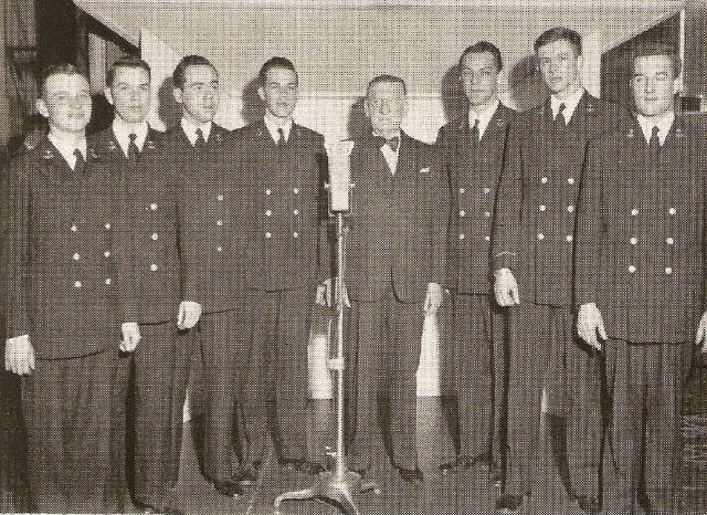 Major Bowes' Midshipmen's Amateur Hour -- Bud Fine is third from the right