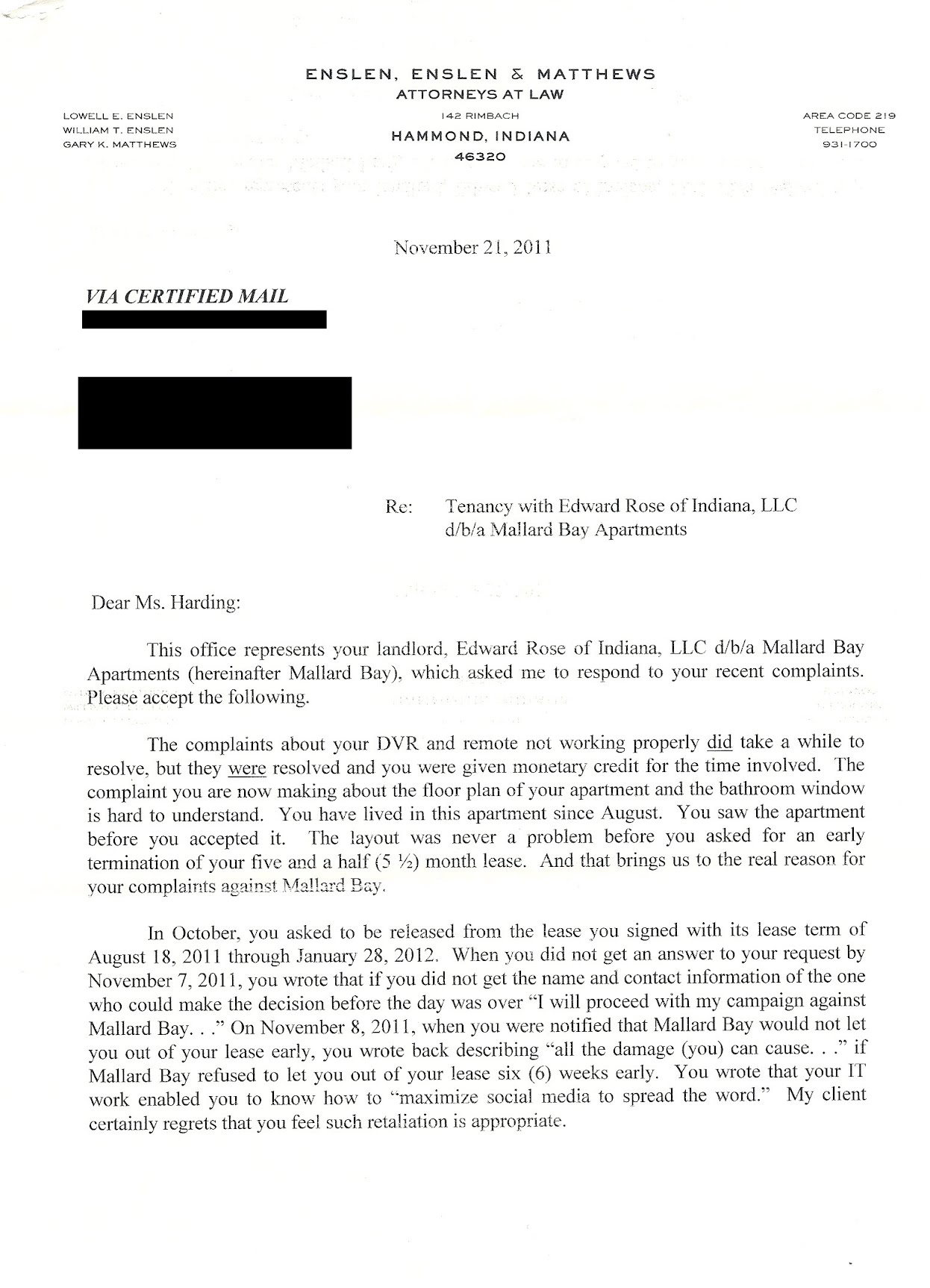letter from attorney stay away from mallard bay