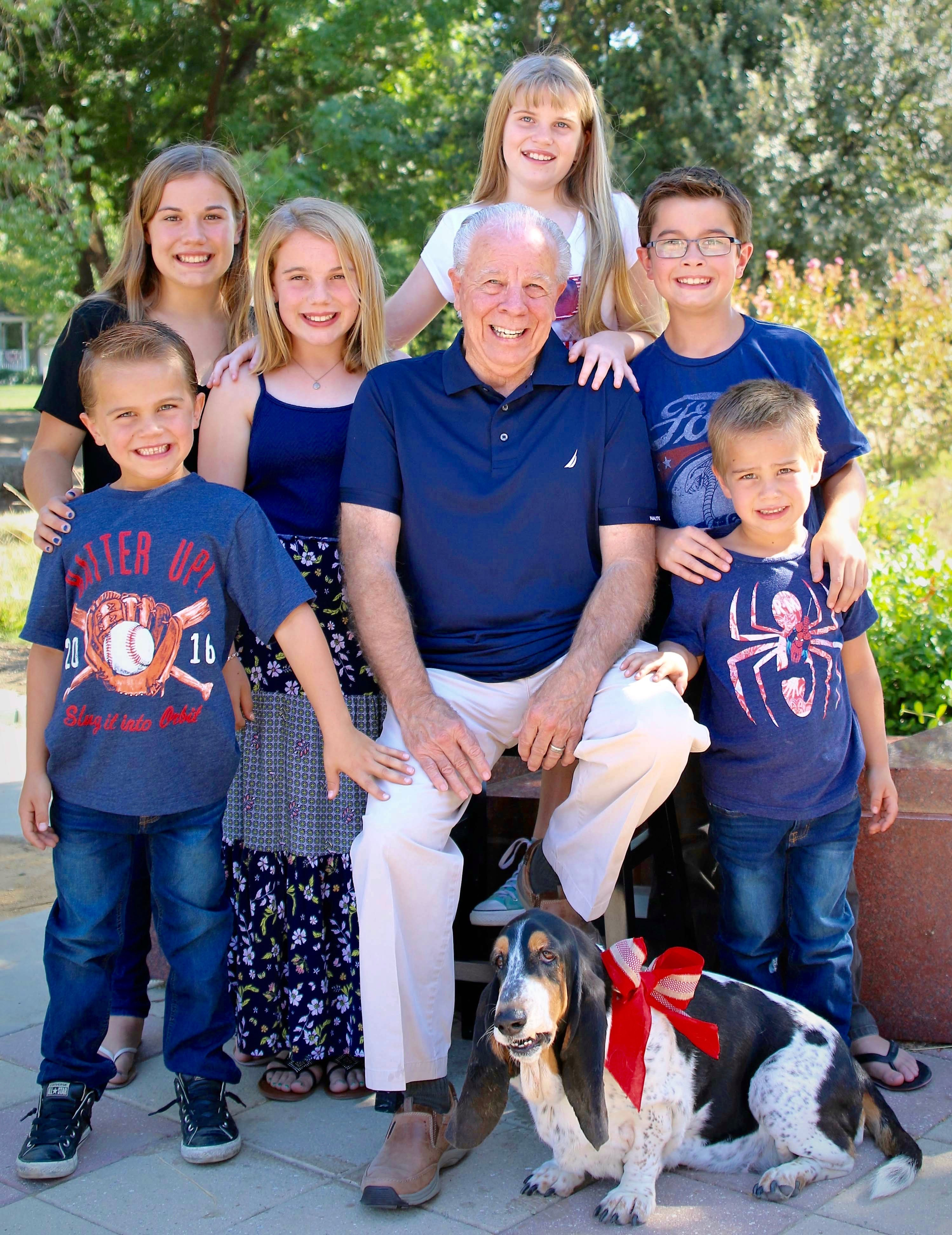 Steve Maher with six of his grandchildren, who attend Pleasanton schools
