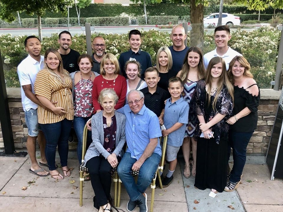 Steve and Tina Maher with their daughters, sons-in-law, and grandchildren.
