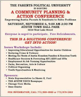 Austin Voice flyer for the Sep 6 Parents Political University Conference
