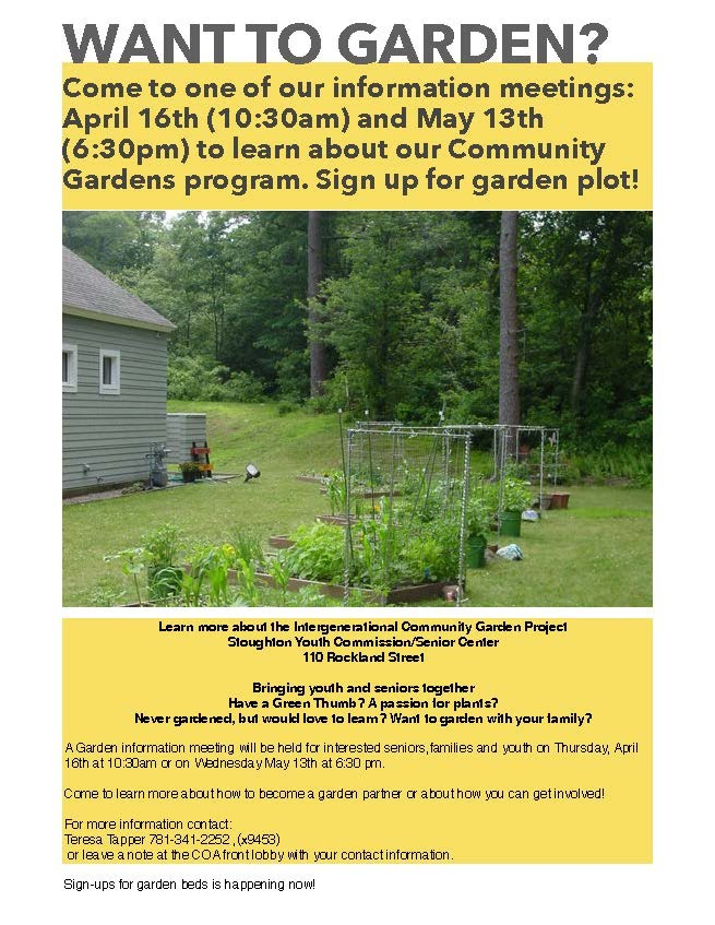 Community garden project stoughton youth commission for Garden information sites