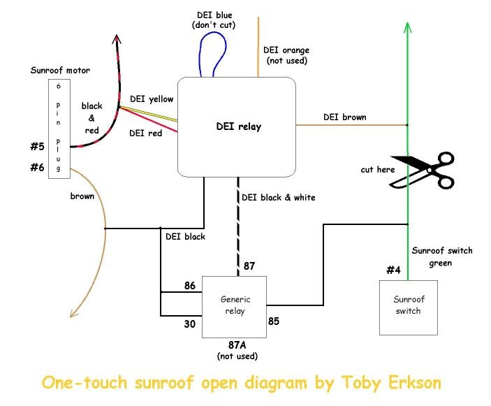 one-touch sunroof opening using a dei timer relay - izzo ... altronix timer relay wiring diagram timer relay wiring diagram