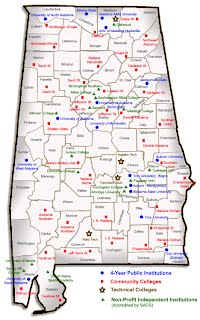 Map of Alabama with university and college locations