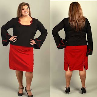 DOUBLE SPLIT SKIRT RED BLACK COTTON PENCIL