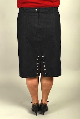 blue denim skirt single silver eyelets