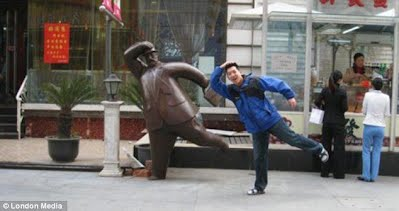 Posing with statues 10