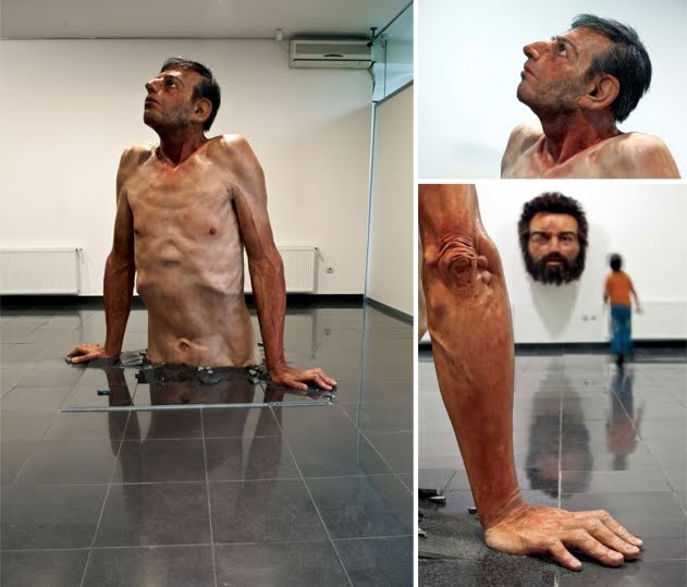 Hyper realistic sculpture called ordinary man by zarko baseski - larger than life size