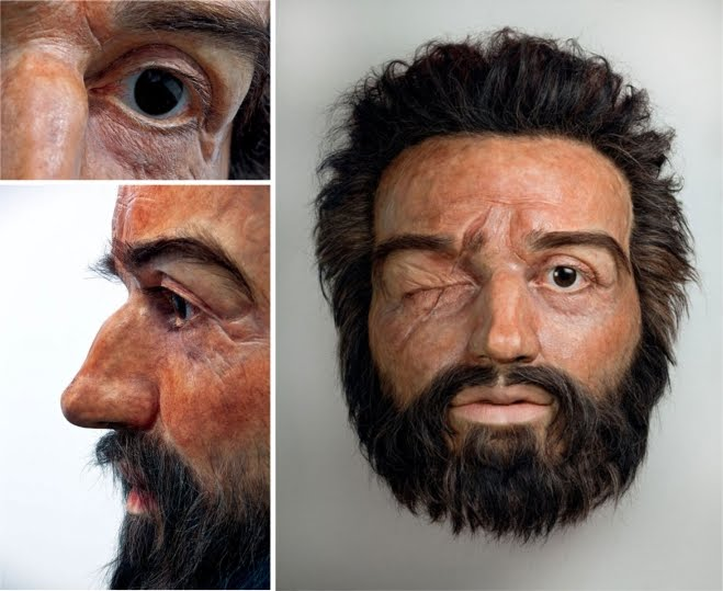 Hyperrealistic sculpture of Philip II Macedonian larger than life size