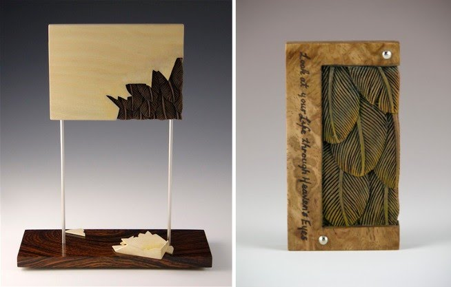 two feather inspired sculptures by artist jacques vesery