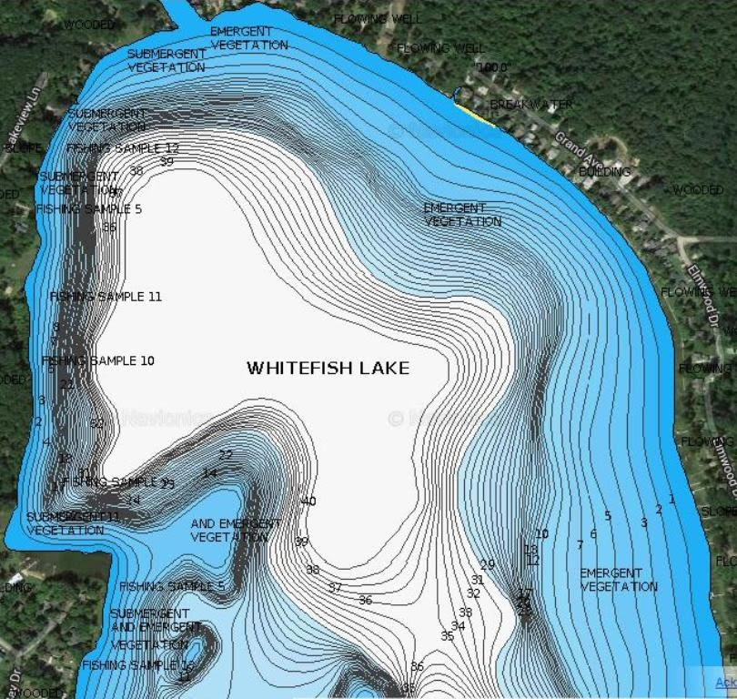 muskegon lake fishing map Big Whitefish Navionics Map North Section Swamp Donkey Bass Fishing muskegon lake fishing map